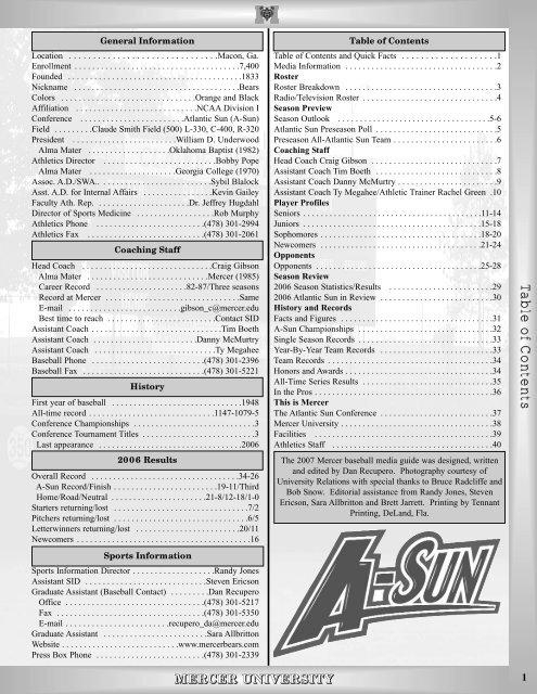 Baseball Media Guide (PDF) - Mercer University