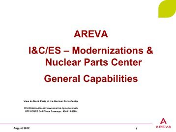 Customer Inquiry System - AREVA NP Inc.