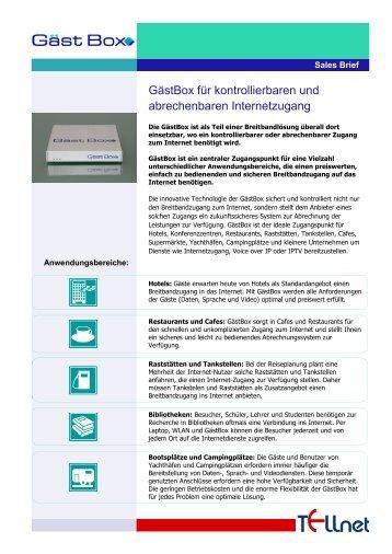 GästBox für kontrollierbaren und abrechenbaren Internetzugang