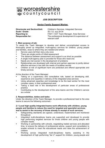Senior Support Worker Team Leader Job Description  Presbyterian