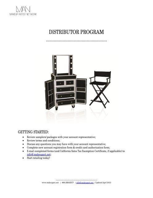 Distributor Form The Makeup Artist