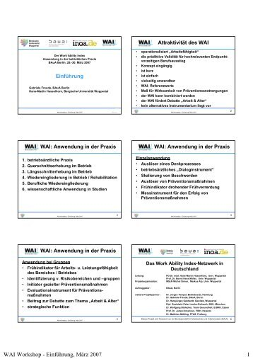WAI Workshop - Einführung, März 2007 1 - WAI - Bergische ...