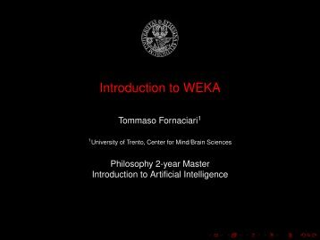 Lab: Introduction to Weka - clic-cimec