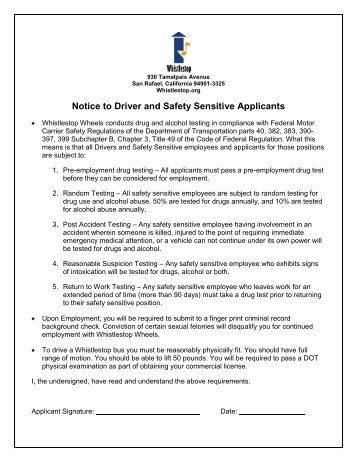 Notice to Driver and Safety Sensitive Applicants