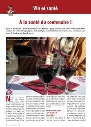 A la santé du centenaire ! Vin et santé - Le Canard Gascon
