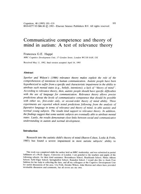 1985 Paper On Theory Of Mind >> Communicative Competence And Theory Of Mind In Autism A