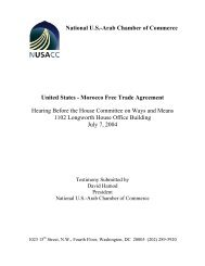 FTA Testimony: Morocco - National US-Arab Chamber of Commerce