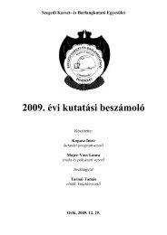 2009. évi kutatási beszámoló - Szegedi Karszt