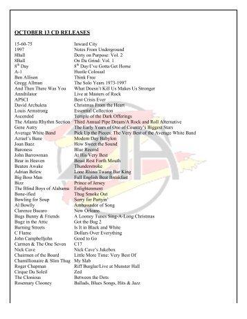 OCTOBER 13 CD RELEASES
