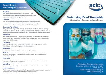 Scarborough Indoor Swimming Pool Timetable 2011 Summer