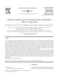 Seasonal variations and mass closure analysis of particulate matter ...