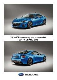 Spesifikasjoner og utstyrsoversikt 2013 SUBARU BRZ - Subaru Norge