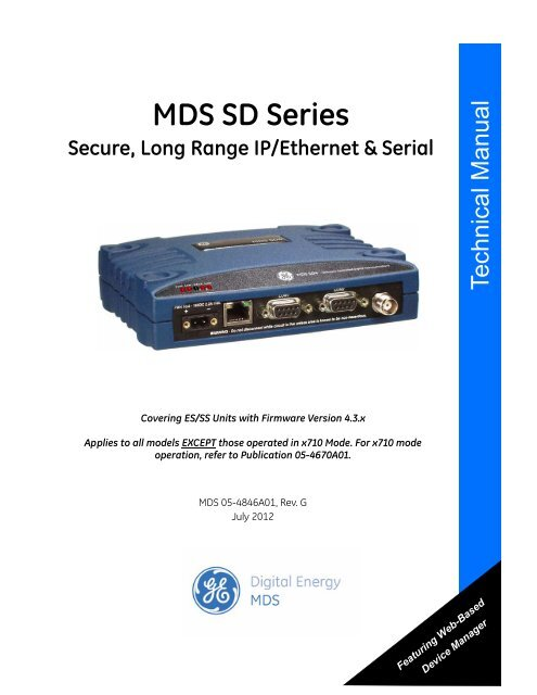 General Electric MDS SD9 Software Controlled Digital Communications