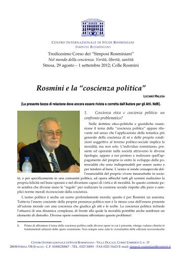 Luciano Malusa Rosmini: la coscienza politica - Centro ...