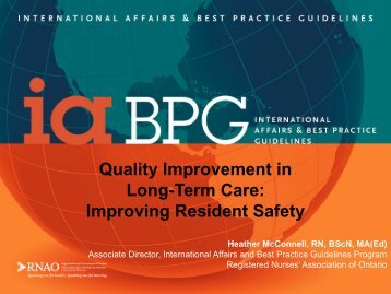 Quality Improvement in Long-Term Care: Improving Resident Safety ...