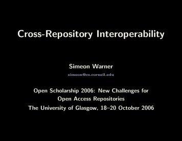 Cross-Repository Interoperability - DSpace Service - University of ...