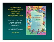[PDF] IOM Report on Preventing Childhood Obesity in - National ...