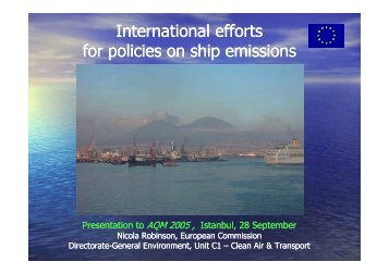 International efforts for policies on Shipping Emissions - EFCA