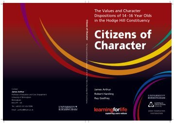 The Values and Character Dispositions of 14 -16 Year Olds in the ...