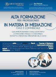 alta formazione in materia di mediazione - Centro Studi Lavoro e ...