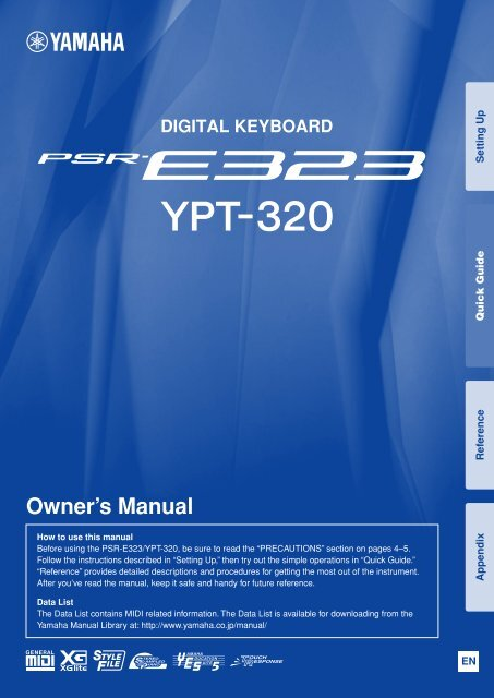 PSR-E323/YPT-320 Owner's Manual - Yamaha Downloads
