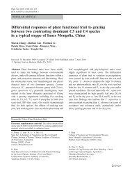 Differential responses of plant functional trait to grazing between two ...