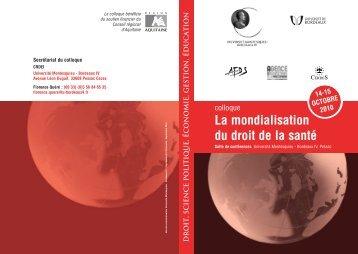 La mondialisation du droit de la santé - CRDEI - Université ...