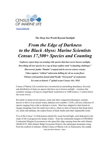 From the Edge of Darkness to the Black Abyss - Census of Marine Life