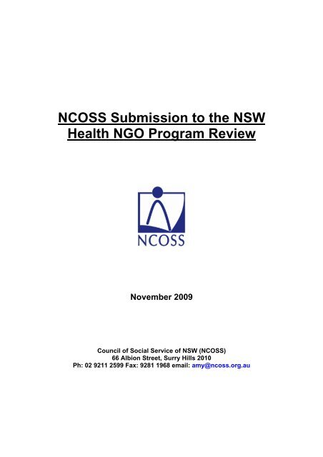 NCOSS Submission to the NSW Health NGO Program Review