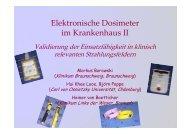 Elektronische Dosimeter im Krankenhaus II