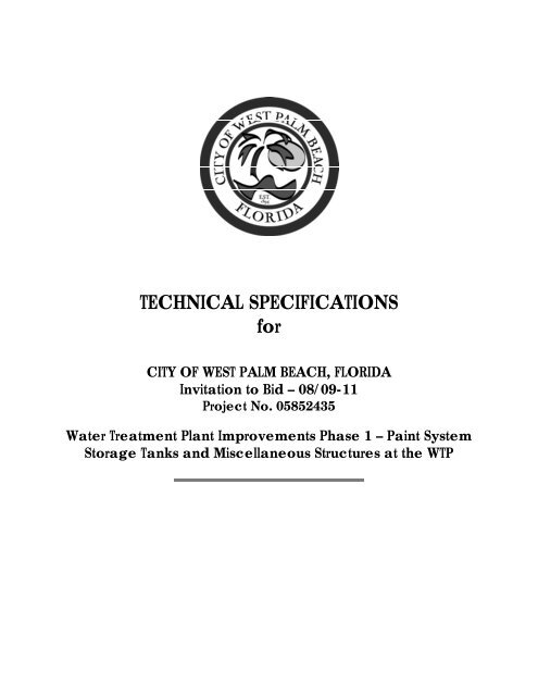 TECHNICAL SPECIFICATIONS for - City of West Palm Beach
