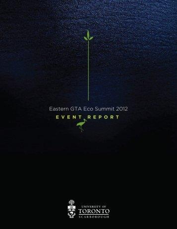 Eastern GTA Eco Summit 2012 Report - University of Toronto ...