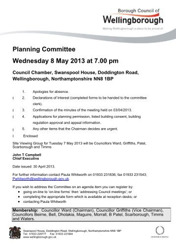 Planning committee 8 May - Wellingborough Borough Council