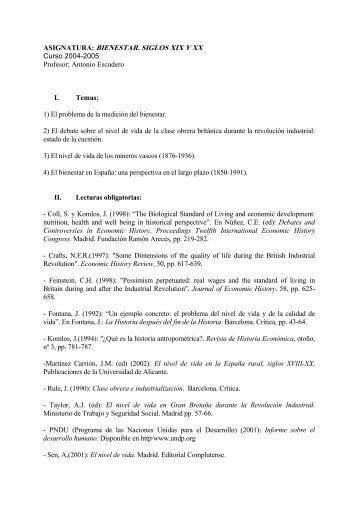 asignatura: bienestar. siglos xix y xx - Universidad de Alicante
