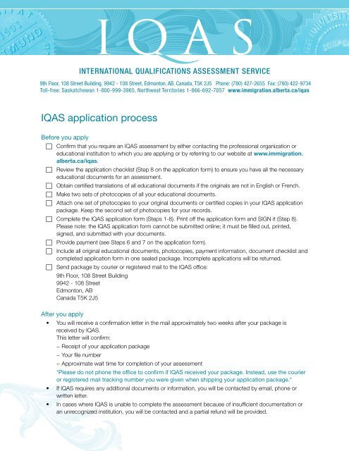 IQAS Application Process Information