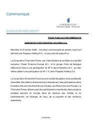 Communiqué - Power Financial Corporation