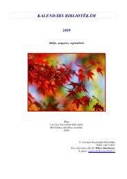 kalendārs bibliotēkām 2009 - Academia