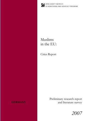 Germany | Muslims in the EU: Cities Report; Preliminary research ...