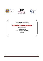 GENERAL MANAGEMENT - Università Telematica Pegaso