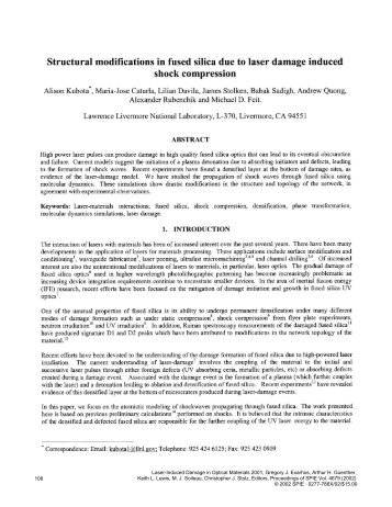 Structural modifications in fused silica due to laser damage induced ...