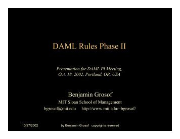 DAML Rules Phase II Announcement