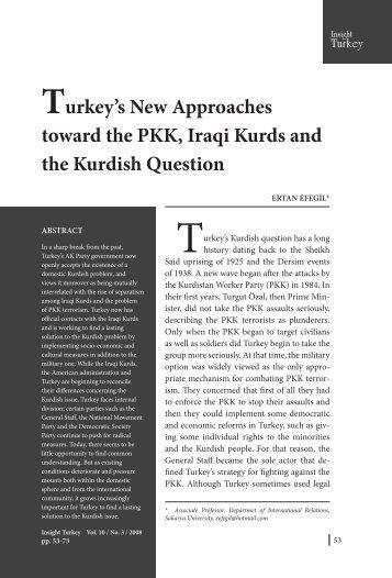 Turkey's New Approaches toward the PKK, Iraqi ... - Insight Turkey
