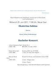 Ekaterina Sobina Bachelor-Konzert - Musik-Akademie Basel