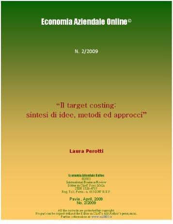 Il target costing: sintesi di idee, metodi ed approcci - Economia ...