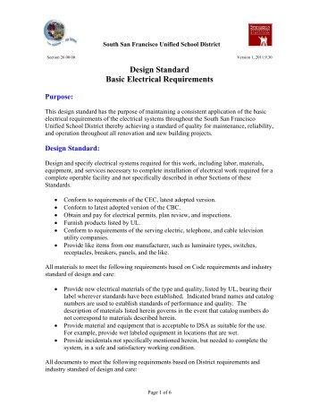 Design Standard Basic Electrical Requirements