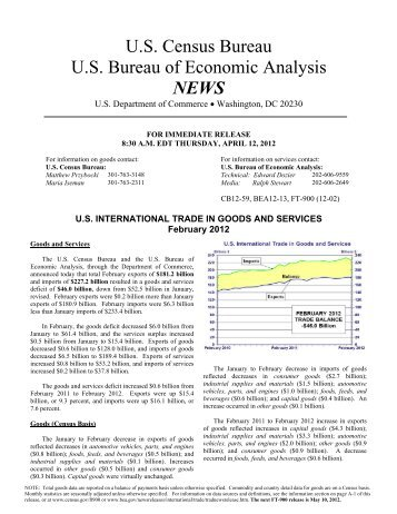 U.S. International Trade in Goods and Services report