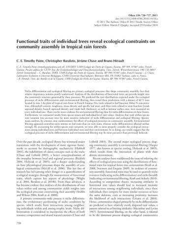 Functional traits of individual trees reveal ecological ... - UMR EcoFoG