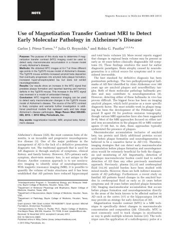 Use of Magnetization Transfer Contrast MRI to Detect Early ...