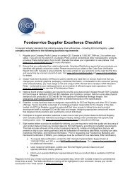 Foodservice Supplier Excellence Checklist - GS1 Canada