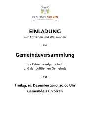 Einladung (Anträge und Weisungen) - Gemeinde Volken